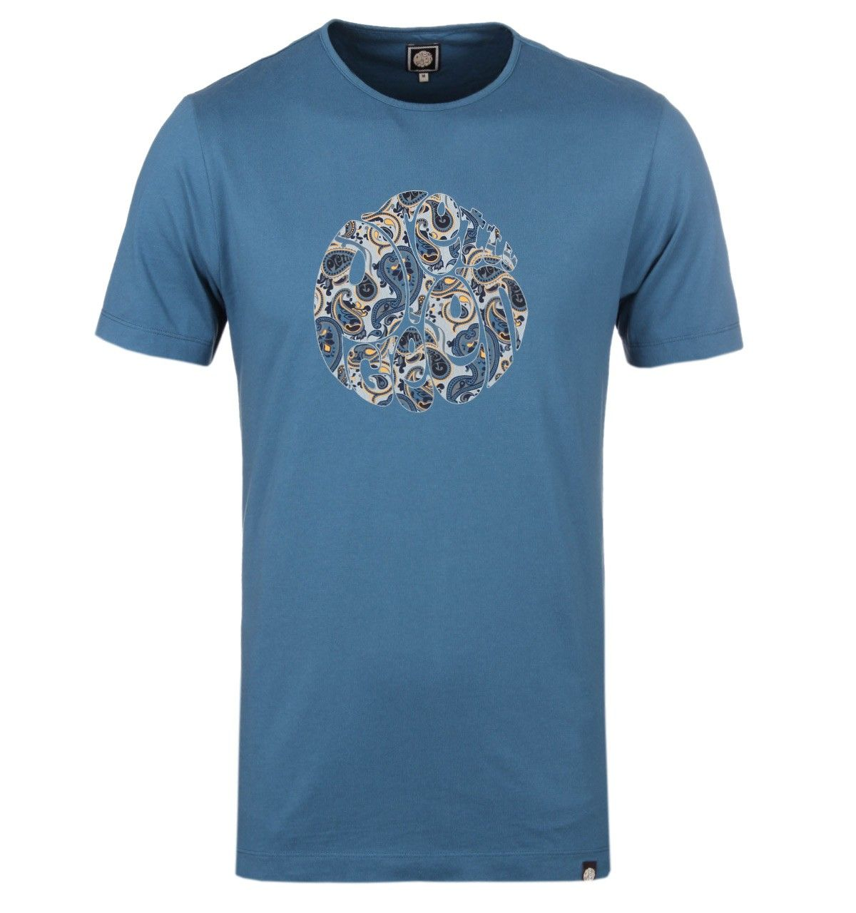 Футболка Pretty Green Stratford Paisley Logo Indian Teal