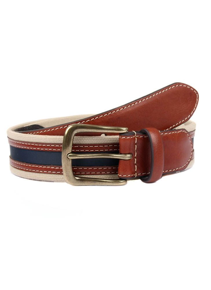 Dents Webbing Leather Belt In Tan