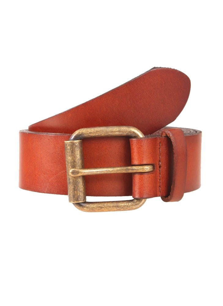 Dents Brass Buckle Waxed Leather Belt In Tan