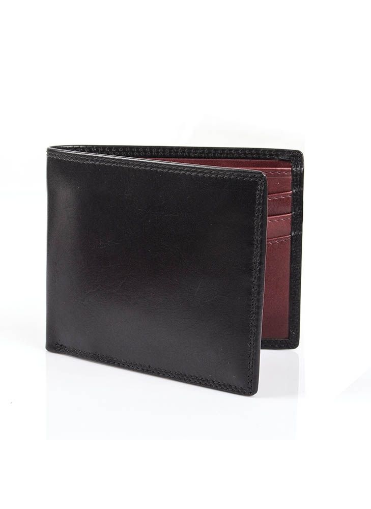 Dents Billfold Wallet 6 Card Pockets In Black Claret Leather