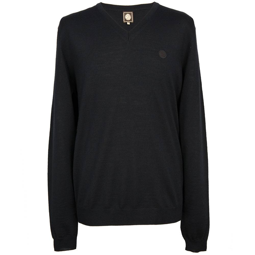 Pretty Green Hanover V Neck Sweater In Navy