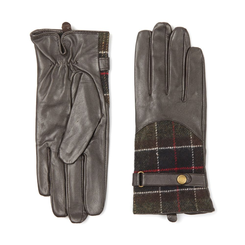 Перчатки Barbour Dee Tartan Leather Brown