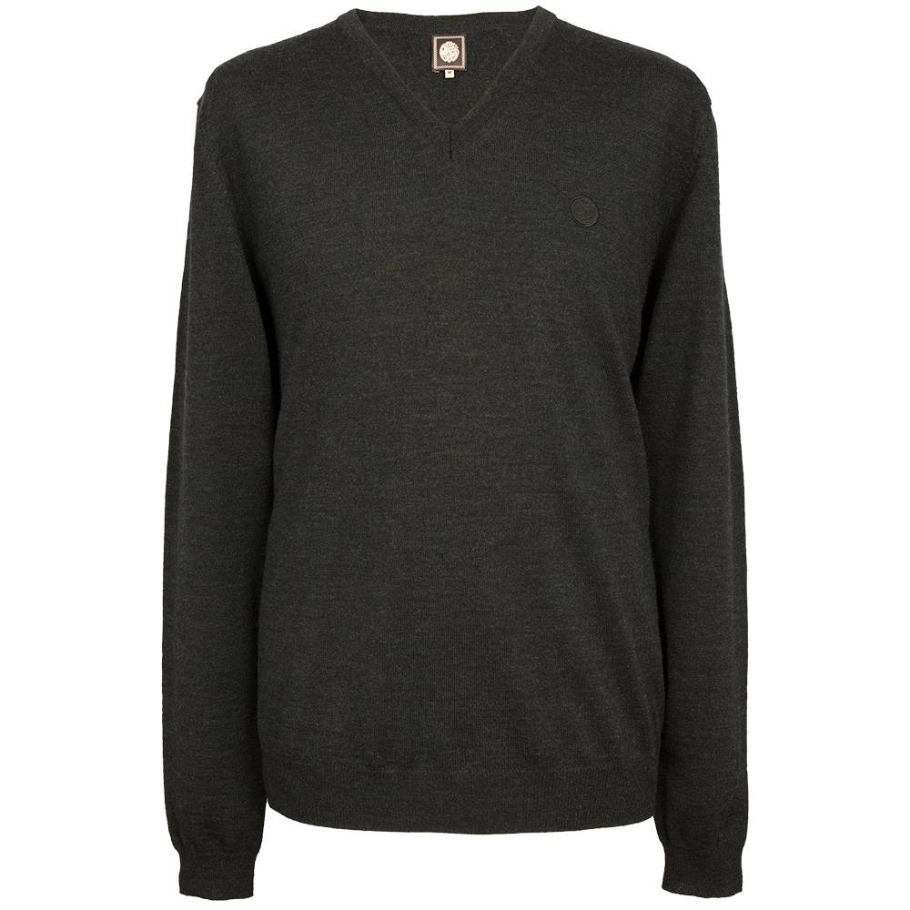 Pretty Green Hanover V Neck Sweater In Charcoal
