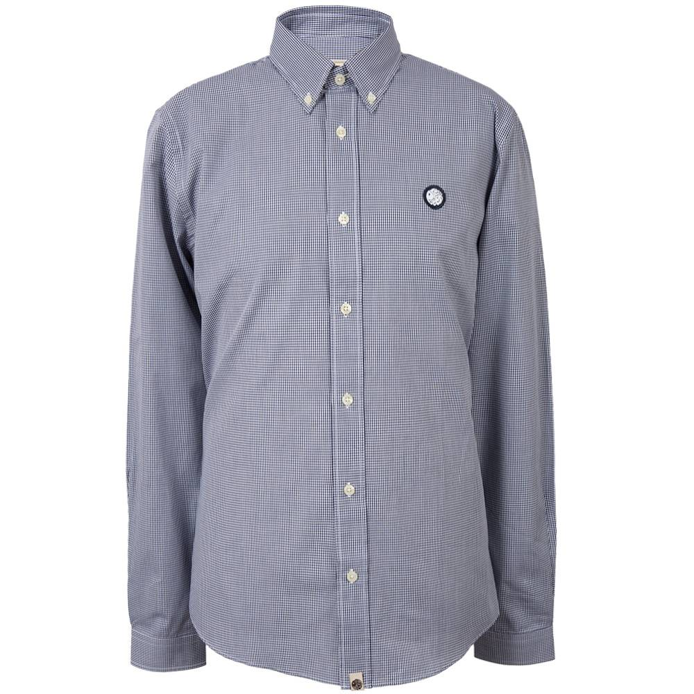 Pretty Green Glendale Gingham Shirt In Navy
