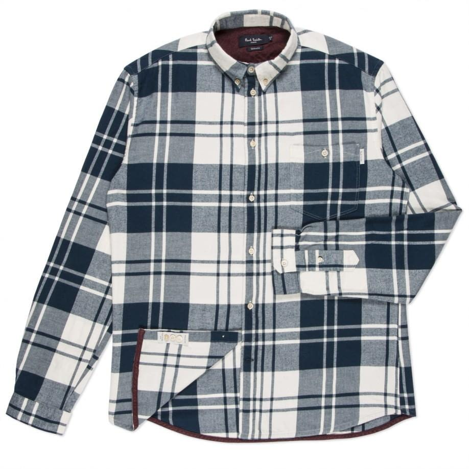 Рубашка Paul Smith Brushed Cotton Checked Petrol Blue