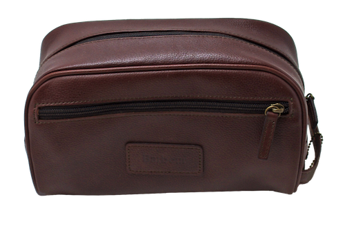 Barbour Leather Wash Bag in Brown