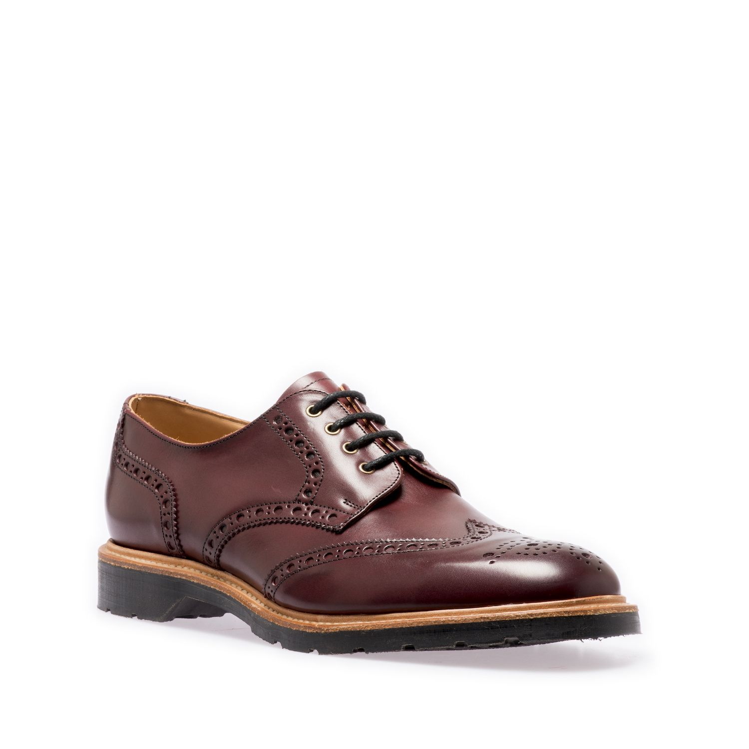 Solovair Gibson Brogue Shoe In Burgundy