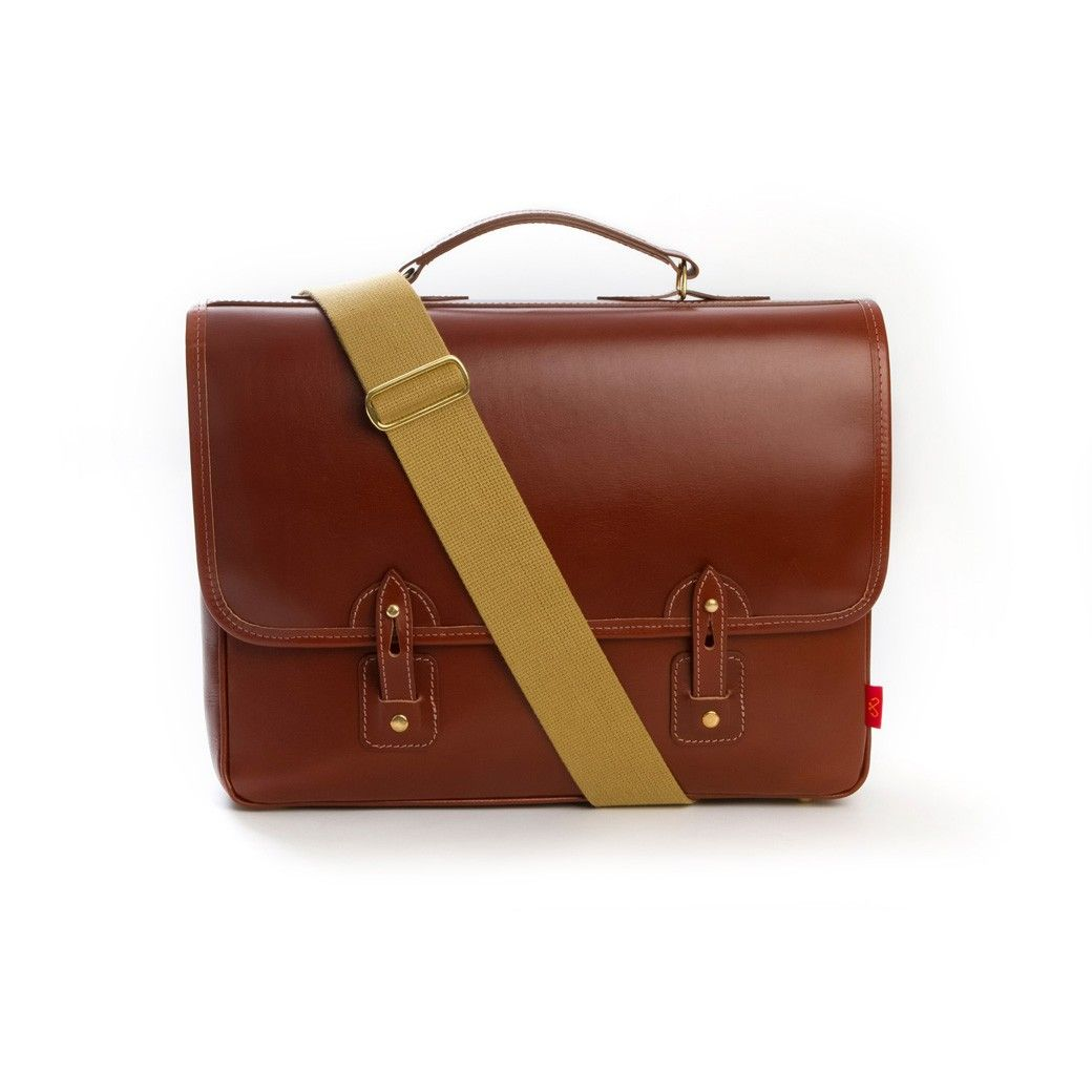 Chapman Reiver Leather Briefcase in Brown