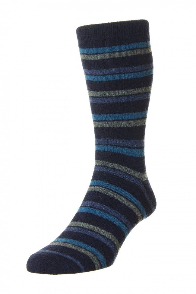 Hj Hall London Stripe Premium Casual Merino Wool Socks In Midnight