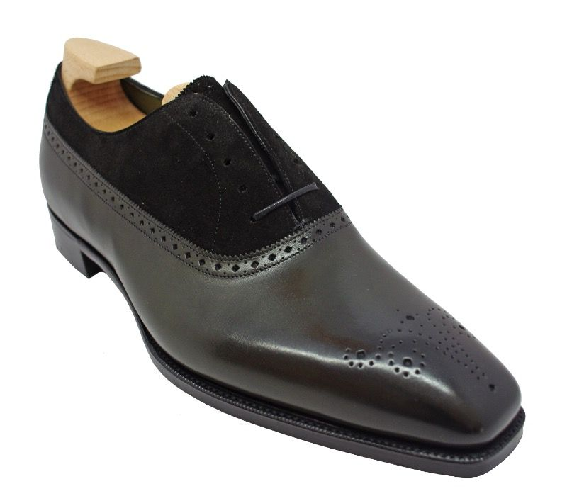 Туфли Gaziano & Girling Kent Balmoral Oxford Racing Green Calf/ Black Suede