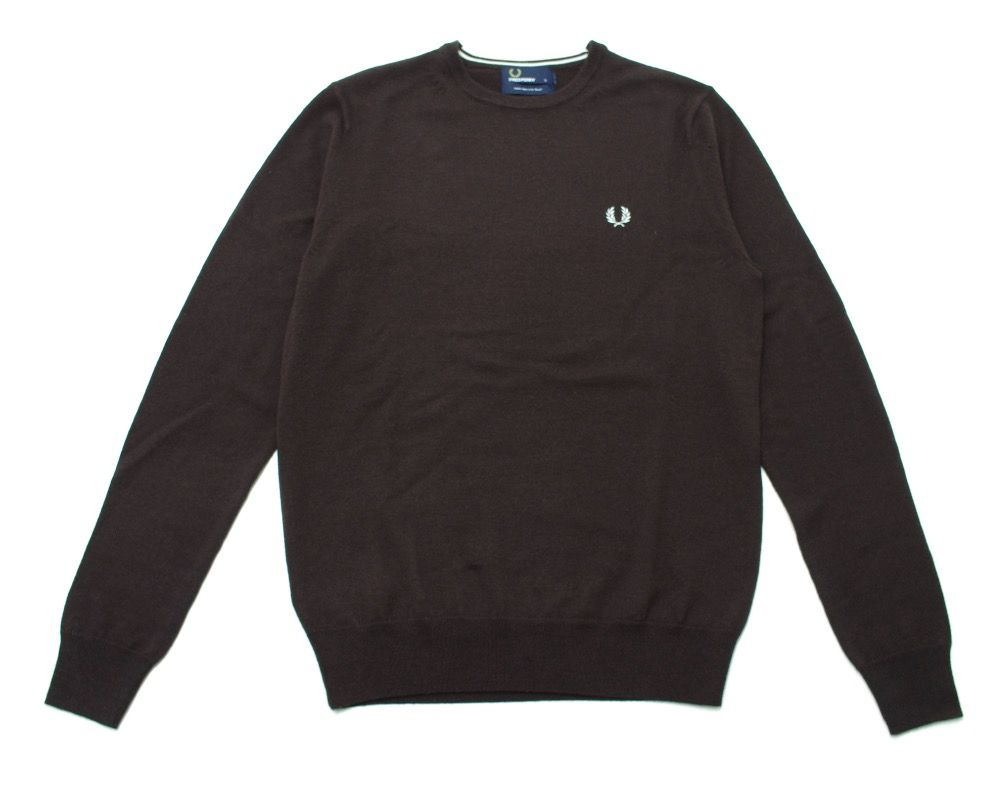Fred Perry Classic Wool Crew Neck Jumper in Dark Chocolate.jpg