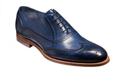 Barker Valiant Brogue in Navy Hand Painted