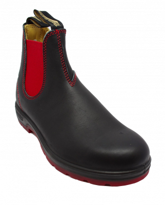 Blundstone 1316 Chelsea Boot in Black Red Sole