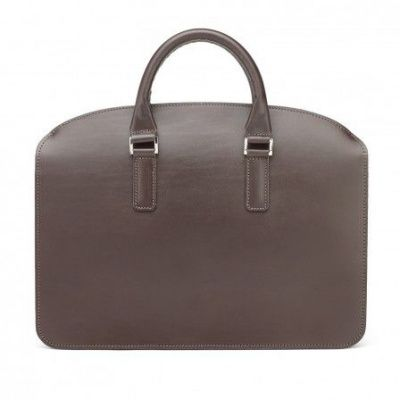 Tusting Henley Leather Zip-Top Briefcase In Dark Brown Bridle