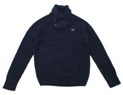 Fred Perry Shawl Knit Wool Jumper in Navy