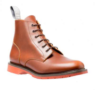 Solovair 6 Eyelet Derby Boot in Brown Red Sole