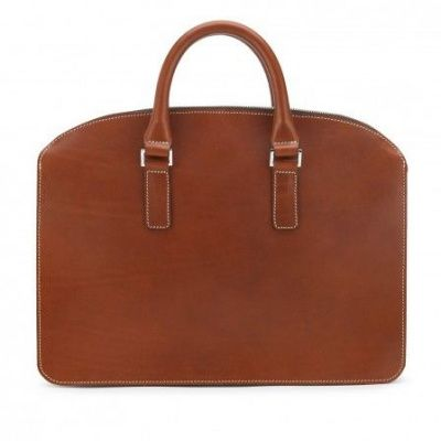 Tusting Henley Leather Zip-Top Briefcase In Tan Bridle