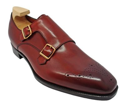 Gaziano & Girling Grosvenor Double Buckle Monk Shoes in Vintage Cherry Calf