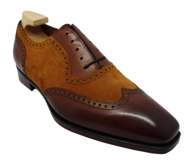 Gaziano & Girling Astaire Shoes in Vintage Cedar Calf/ Fox Suede