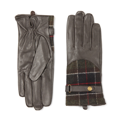 Barbour Dee Tartan Leather Glove In Brown
