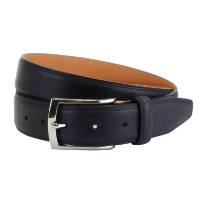 The British Belt Company Stanley Formal Leather Belt In Navy