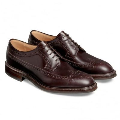 Cheaney Oliver II R Long Wing Coaching Calf Brogue in Burgundy