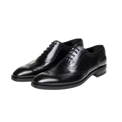John White Duke Oxford Brogues in Black