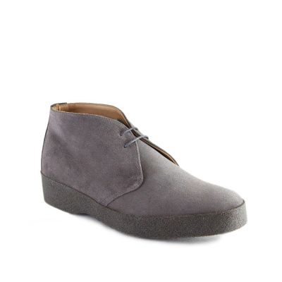 Sanders Hi-Top Chukka Boot in Grey Suede
