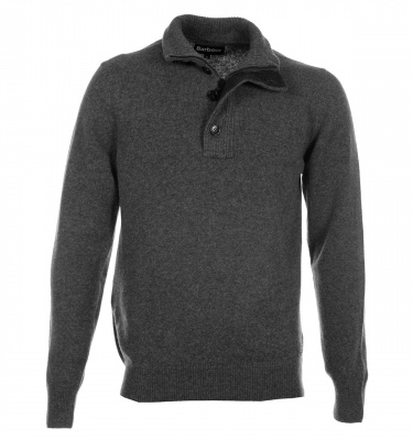 Barbour Patch Half Zip Lambswool Sweater in Storm Grey