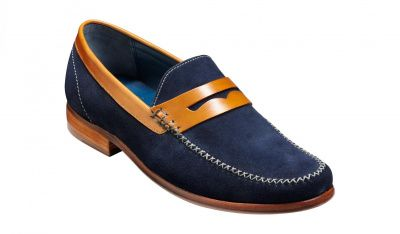 Barker William Loafer in Navy Suede / Cedar Collar