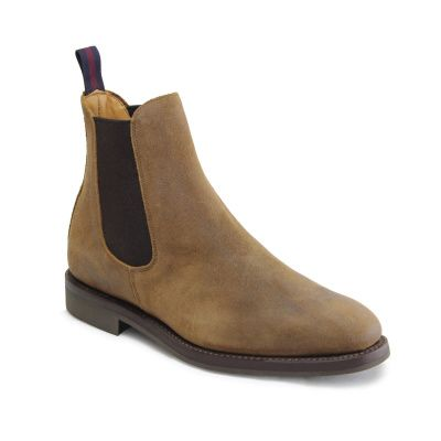 Sanders Liam Chelsea Boot in Snuff Waxed Suede