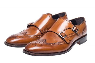 John White Clifton Double Monk Brogue in Tan