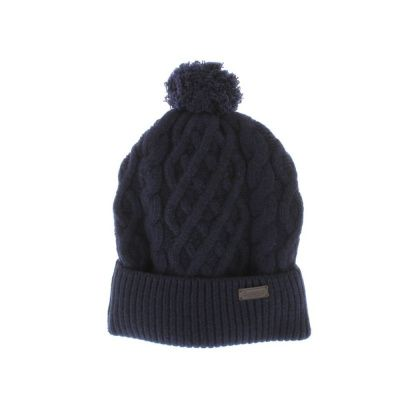 Barbour Cable Knit Beanie Hat in Navy
