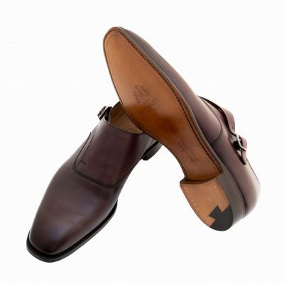 Joseph Cheaney Moulton Monk Shoes in Burgundy