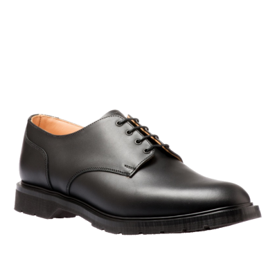 Solovair 4 Eyelet Gibson Shoe in Black