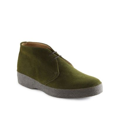 Sanders Hi-Top Chukka Boot in Moss Green Suede