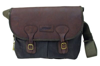 Barbour Wax Leather Tarras Bag in Olive