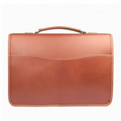 Tusting Wymington Briefcase In Tan Miret Bridle Leather