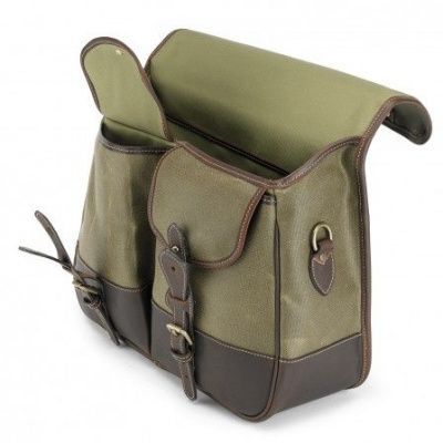 Tusting Clipper Satchel In Lichen Waxed Canvas With Sundance Leather Trim