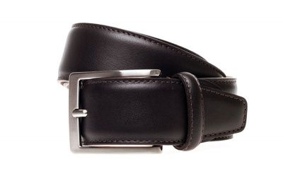 John White 35mm Belt in Brown Dress Tumbled Calf