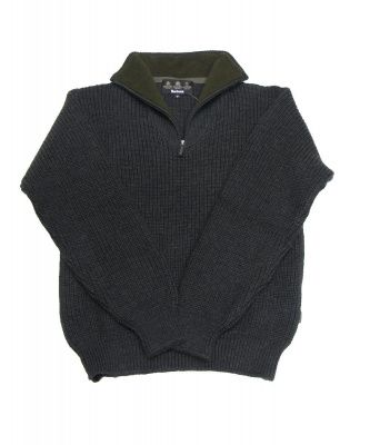 Barbour Tyne Zip Neck Sweater in Olive