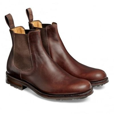 Cheaney Barnes III B Pull Up Leather Chelsea Boot in Brown