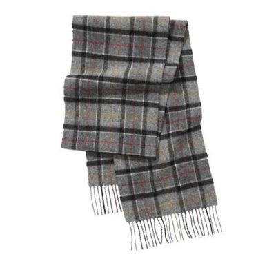 An image of a grey barbour unisex tartan lambswool scarf