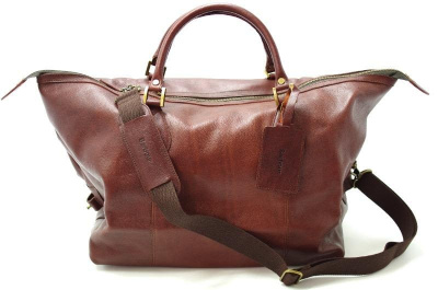 Barbour Leather Medium Travel Bag in Brown