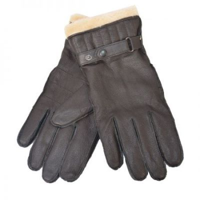 Barbour Leather Utility Glove In Brown