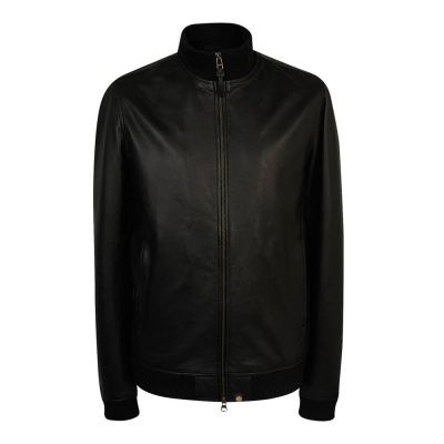 Pretty Green Rider Leather Jacket In Black