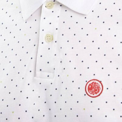 Pretty Green Polka Dot Polo In White
