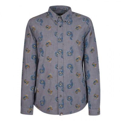 Pretty Green Kelby Ls Shirt In Blue
