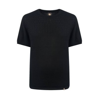 Pretty Green Edale Cable T-Shirt In Black