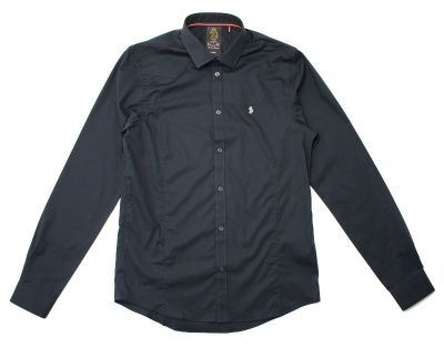 Luke Butchers Pencil Slim Shirt in Black